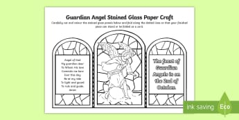 Guardian Angel Stained Glass Paper Craft - Feast of guardian angels, Archangels, prayer to guardian angels, Catholic prayers, angels ,Scottish