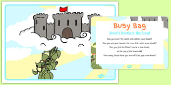Giants Castle In The Clouds Busy Bag Prompt Card and Resource Pack - Jack and the Beanstalk, cotton wool, tweezers, fine motor skills
