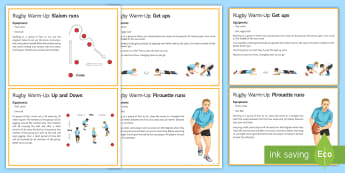 Rugby: General Warm-Up Cards - Rugby, KS3, KS4, Physical Education, Warm-up, cards