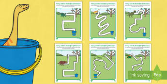 Pencil Control Path Sheets to Support Teaching on Harry and the Bucketful of Dinosaurs