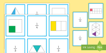 Fractions Matching Cards  - Fractions, cards, matching, math