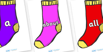100 High Frequency Words on Socks - High frequency words, hfw, DfES Letters and Sounds, Letters and Sounds, display words