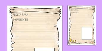 Pauta de escribir Receta de pociones mágicas