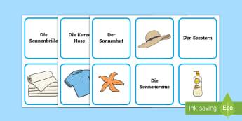 Beach Vocabulary Matching Cards - German - Summer, Holiday, German, Beach, MFL, Vocabulary, Languages, Urlaub, DAF, DAZ, Sommer
