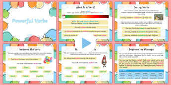 Powerful Verbs PowerPoint - KS2, uplevelling, edit and improve, uplevel writing, spag, word choices, language, ambitious languag