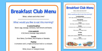 Elderly Care Hydration and Nutrition Week Breakfast Club Menu - Elderly, Reminiscence, Care Homes, Hydration and Nutrition Week