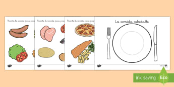 Ficha: La comida saludable  - comer, sano, saludable, alimentación, dieta, equilibrada, Spanish