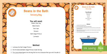 Beans in the Bath Sensory Bag - food, eating, baked beans, sensory play, messy play