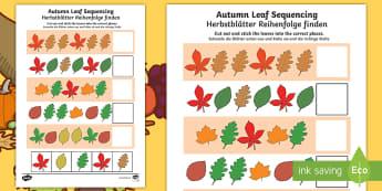 Autumn Leaf Sequencing Activity Sheet English/German - worksheet, foliage, seasons, weather, EAL, translation