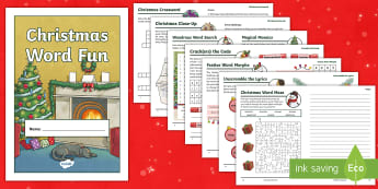 KS2 Christmas Word Fun Activity Booklet - holding activity, wordsearch, crossword, word games, holiday booklet, homework booklet, lks2, uks2,