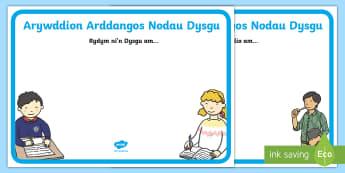 Arddangos Nodau Dysgu Arwyddion a Labeli - targedau, dysgu, chwi;lio, lloking for, learning to, targets,Welsh