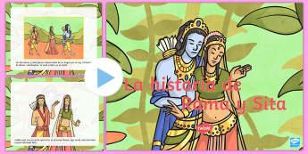 Presentación: La historia de Rama y Sita - diwali, hinduismo,religión, mito de Rama y Sima, Rama y Sima, Sima y Rama, español, spanish story