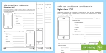 UK General Election Candidate Selfie Worksheet / Activity Sheet French - Secondary - Event - General Election 08/06/2017, selfies, activity, sheet, current affairs, writing,