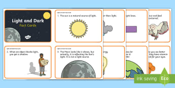Light and Dark Fact Cards -  Transparent, Translucent, Opaque, Reflection, Refraction, Sources Of Light