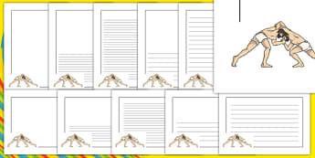 Rio 2016 Olympics Greco Roman Wrestling Page Borders - greco, roman, wrestling, page borders, page, borders