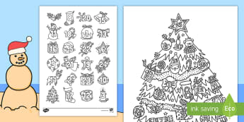 Christmas Mindfulness Advent Calendar Colouring Pages English/Afrikaans - December, numbers, Christmas tree, nommers, Kersboom, EAL