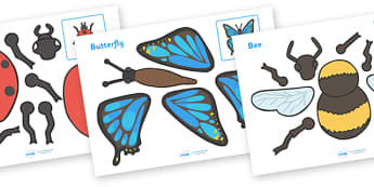 Minibeasts Split Pin Characters - education, home school, free
