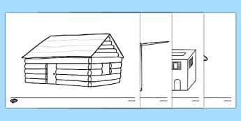 Homes Around the World Colouring Sheets - house, home, building, colouring, activity, fine motor skills, brick, stone, saxon, roman, iron age, mud hut