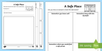 CfE First Level Safe Places Activity Sheets - Safe, Safety, Health, Wellbeing, Unsafe, Dangers,Scottish