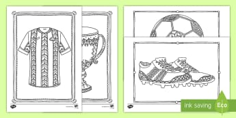 Football Mindfulness Colouring Pages English/Afrikaans - world cup, ball, players, cup, team, beker, spelers, span, EAL