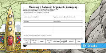 Quarrying: Planning a Balanced Argument Activity Sheet - worksheet, Debate, Discussion, Discursive, Viewpoint, Argument, For, Against, Environment