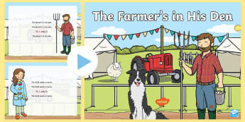 The Farmer's in His Den Song PowerPoint - early concepts, in, out, nursery rhymes, singing games, singing, song time, maths, number song.