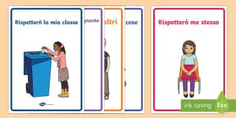 Rispetto in Classe Posters - comportamento, regole, poster, in, classe, italiano, italiano