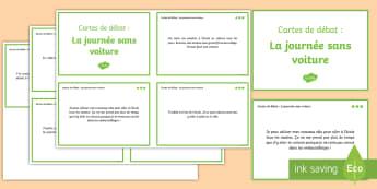 Cartes de débat : La journée sans voiture -  Philosophique, Enseignement Moral Et Civique, Français, Expression Orale, Environnement, Cycle 2,
