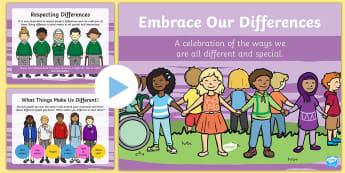 Embrace Our Differences PowerPoint - bullying, racism, racist, xenophobia, LGBTQ, PSHCE, differences, similarities, respect, diversity, p