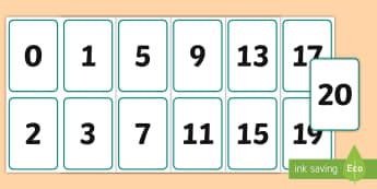 Cardiau Digid 0-20 - digid, digit, rhifau, number, cyfri, counting, trefnu, order