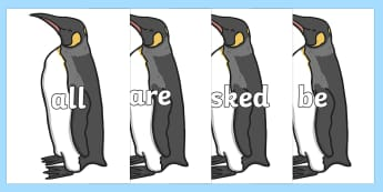 Tricky Words on Penguins - Tricky words, DfES Letters and Sounds, Letters and sounds, display, words