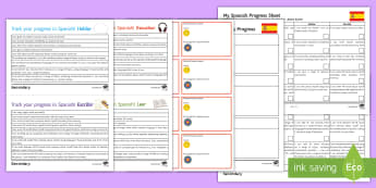 Tracking My Progress Resources Assessment Pack Spanish - monitoring, pupil-friendly, exercise book insert, skills, descriptors