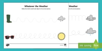 Whatever the Weather Pencil Control Worksheet / Activity Sheet - Exploring my world, worksheet, sun, rain, wind, snow, seasons, clothes, aistear, literacy, oral lang