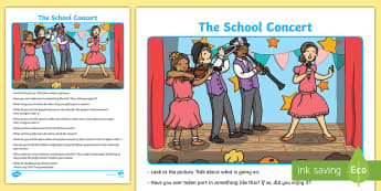 The School Concert Oral Language Activity Sheet - worksheet, talk and discussion, listening skills, talk about the picture, school show, singing, inst