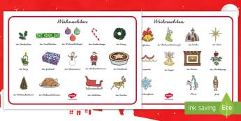 Weihnachten Wortschatz: Querformat-German