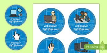Computer Expert Nursery and Reception  Role Play Badges-Welsh