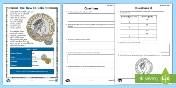 LKS2 The New £1 Coin Maths Go Respond  Activity Sheets - LKS2, maths, maths problems, measurement, diameter, properties of shape, lines of symmetry, perimete