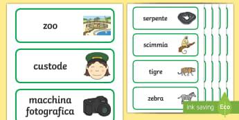 Allo zoo Parole Illustrate - asilo, elementari, nomi, animali, zoo, giraffa, leone, elefante, coccodrillo, illustrazioni, italian