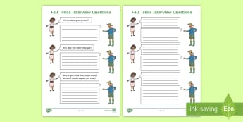 Fairtrade Interview Activity Sheet - Fairtrade, farmer, interview, questions, chocolate, coffee, football, ethical, money, fair trade, co