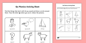 ROI 'qu' Phonics Activity Sheet-Irish, worksheet