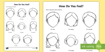 Emotions and Feelings Activity Sheet - worksheet, emotions, feelings, faces, angry, happy, sad, upset, draw