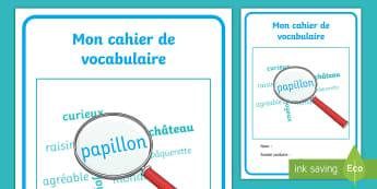 Couverture de cahier : Cahier de vocabulaire - Cycle 1, cycle 2, cycle 3, organisation de la classe, classroom organisation, couverture, cahier, vo
