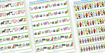 Sequence Matching Cards 5 Items - sequences, sequence matching cards, sequence matching strips, sequence matching game, pattern matching game, patterns