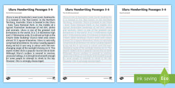 Uluru Handwriting Practice Activity Sheet - Ayers Rock, Fine Motor, joined letters, letter formation, writing,Australia