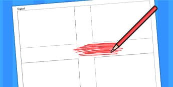 England A4 Colouring Flag - geography, flags, country, colour in