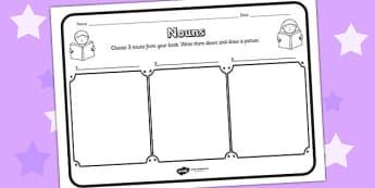 Nouns Comprehension Worksheet - nouns, comprehension, comprehension worksheet, character, discussion prompt, reading, discussions, noun worksheets, words