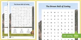The Brown Bull of Cooley Word Search  -  queen maeve, connacht, ailill, finbhennach, white bull, brown bull, druid, cu chulainn, red branch,