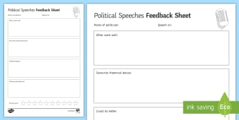 Political Speeches Feedback Activity Sheet - Secondary - Event - General Election 08/06/2017 , persuasive devices, political speech, feedback, sp