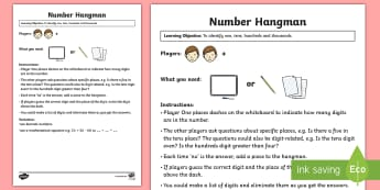 Number Hangman Maths Game - Maths Games, number, place value, hundreds, tens and ones, ones, tens,