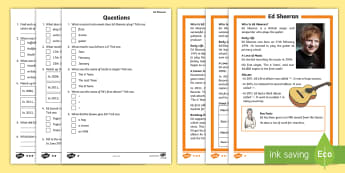 KS1 Ed Sheeran Differentiated Reading Comprehension Activity - pop musician, biography, guided reading, answering questions, Y1 and Y2